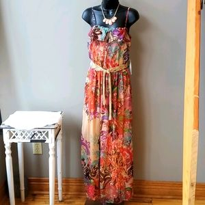 Love Fire Red & Tan Floral Maxi Dress,  Large